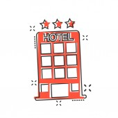 Vector cartoon hotel icon in comic style Tower sign illustration pictogram Hotel apartment business splash effect concept