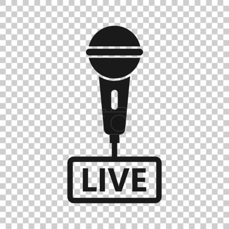 Photo for Microphone icon in transparent style. Live broadcast vector illustration on isolated background. Sound record business concept. - Royalty Free Image