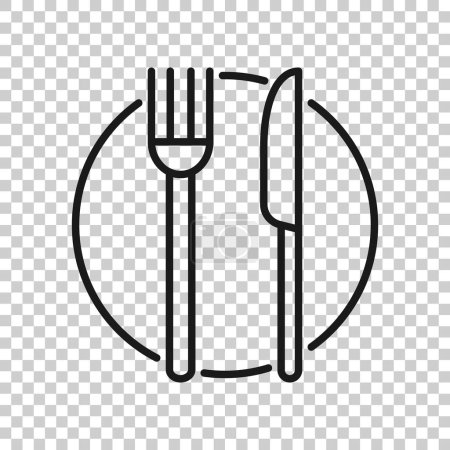 Photo for Fork, knife and plate icon in transparent style. Restaurant vector illustration on isolated background. Dinner business concept. - Royalty Free Image