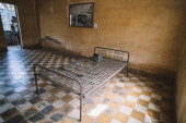 Prison Cell of S21 the notorious torture prison by the khmer rouge at Phnom Penh on Cambodia