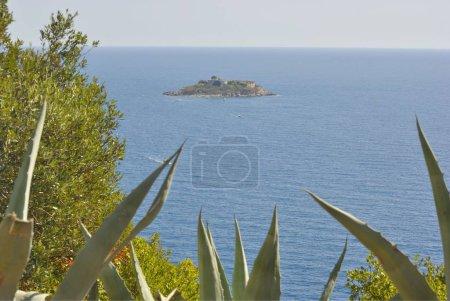 View of Island of Mamula fortress, the entrance to the Boka Kotorska bay, Montenegro.