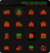 Farm building icons set