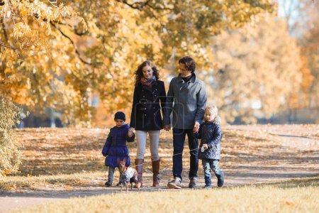 Photo pour Heureuse famille souriante de parents et d'enfants marchant ensemble se tenant la main dans le parc d'automne - image libre de droit