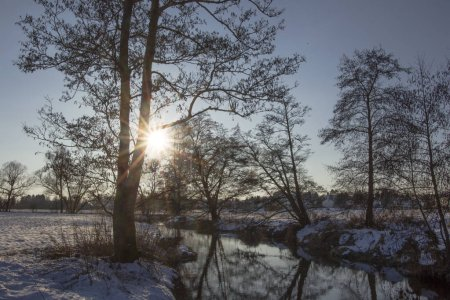 Photo for Sun shines through branches on stream with snow on banks reflecting light on water - Royalty Free Image