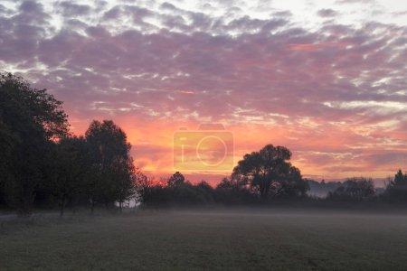 Photo pour Brume matinale sur le champ et ciel rose avec sunrise - image libre de droit
