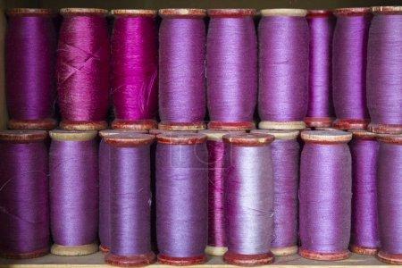 Silk thread spools close up shot