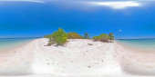 Travel concept with a sandy beach and blue sea. 360VR. Balabac, Palawan, Philippines.