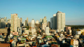 The city of Manila, the capital of the Philippines.