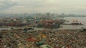 City of Manila, the capital of the Philippines with modern buildings. aerial view.