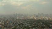 Manila city with skyscrapers, Philippines aerial view.