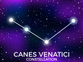 Canes Venatici constellation Starry night sky Cluster of stars and galaxies Deep space Vector illustration