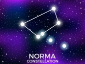 Norma constellation Starry night sky Cluster of stars and galaxies Deep space Vector illustration