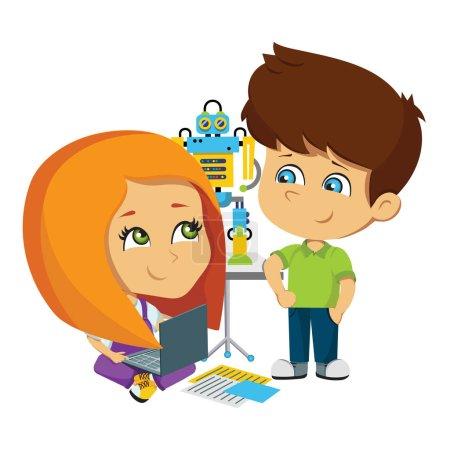 Illustration pour Illustration vectorielle avec un robot. Les enfants ont un projet. Un garçon et une fille testent un robot. Robotique. Enfants inventeurs - image libre de droit