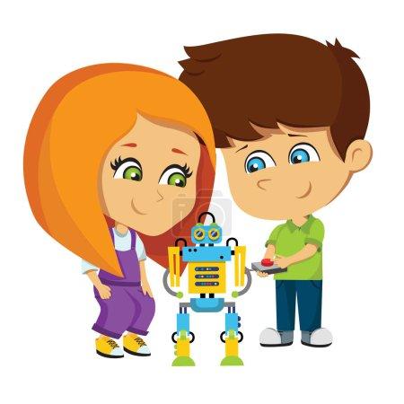 Illustration pour Illustration vectorielle des enfants. Les enfants ont un projet. Un garçon et une fille testent un robot. Robotique. Enfants inventeurs - image libre de droit