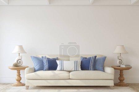 Photo pour Intérieur moderne du salon dans un style côtier. Une maquette intérieure. 3d rendu . - image libre de droit