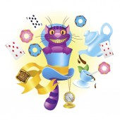 Cheshire cat in a hat and a variety of treats for tea Illustration to the fairy tale Alice's Adventures in Wonderland
