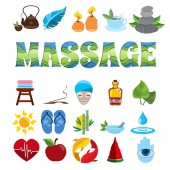 Massage set of themed icons Various objects of the resort industry Service industry logos