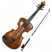 realistic image of violin and bow isolated on white background