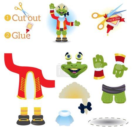 Illustration pour Couper et coller jeu éducatif pour enfants, Mock Turtle - image libre de droit