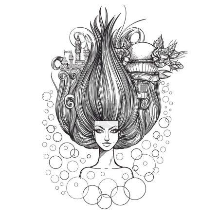 Illustration pour Le symbole aérien. Femme fantastique avec une magnifique coiffure. Élément. Déesse de l'air. Croquis pour tatouage . - image libre de droit