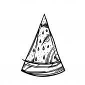 print or logo piece of watermelon with stones Vector black and white drawing