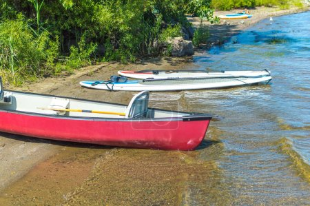 Photo for Group of canoes and kayaks on a lake shore in park, Canada. - Royalty Free Image
