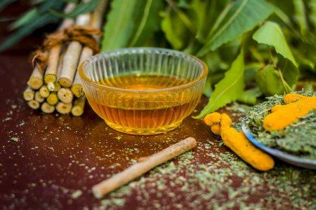 Photo pour Vue rapprochée de la poudre iliaque indienne avec sa branche d'arbre et curcuma et miel pour le soin des dents - image libre de droit