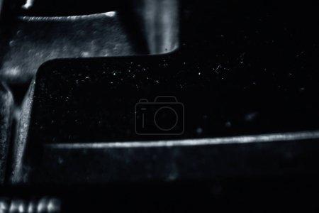Tiro macro de tecla de color negro en el teclado de una PC de escritorio .