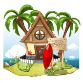 Cartoon Fairy House on the beach on a green hill with palms and signboard