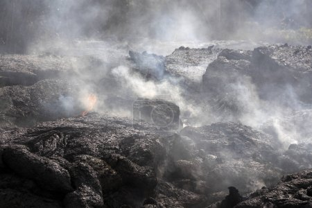 Lava flow in Hawaii that smokes heavily
