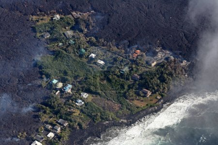 The villages of Kapoho and Vacationland are completely enclosed or even destroyed by lava after a volcanic eruption, May 2018