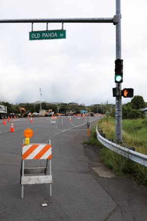 Pahoa, Hawaii, United States, June 5 2018: Because of a volcanic eruption of the volcano Kilauea closed road in Pahoa. The police check all vehicles for their transit authorization.