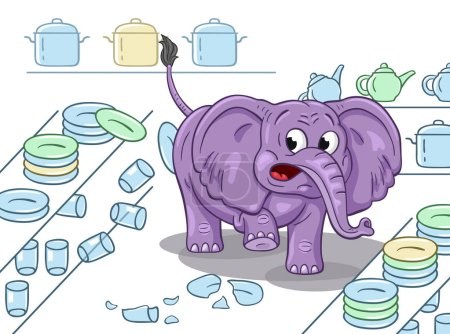 Cartoon illustration of a clumsy elephant in a china shop. On white background