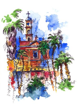 Watercolor summer landscape with church. Watercolor illustration. Postcard greeting card graphic design template