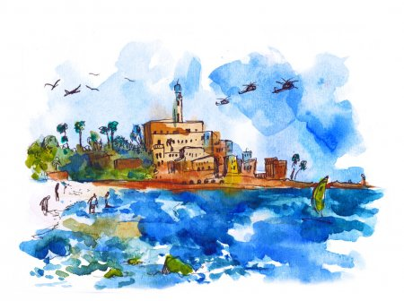Water view landscape - Mediterranean Sea, Watercolor. Old town and port of Jaffa and Tel Aviv city, Israel