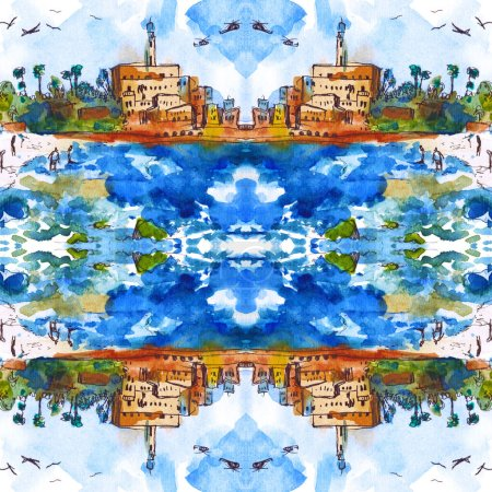 seamless pattern of landscape - Mediterranean Sea, Watercolor. Old town