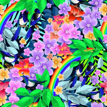 Birds, magpies on a branch with flowers, leaves with a rainbow, seamless vector.