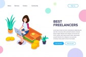 Isometric Best Freelancers Concept A girl with a laptop works sitting on a purse with money and coins Pluses of remote work Can use for web banner sites infographics print products