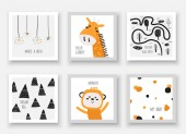 Baby shower animals including giraffe monkey Card postcards with stars forest trees mountains abstract elements
