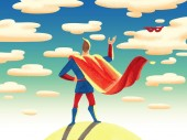 Watercolor illustration.The superhero is standing with his back and throwing his red mask on sky and cloud background