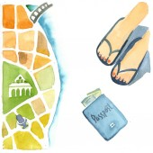 Watercolor illustration isolated on white background.  The colorful map of the unnamed city with the beach and seaside, top view on feet and passport drawing in kids stile