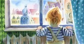 Watercolor  illustration. Back view of the little boy, who looks through the window to the street. The indors scene