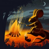 Digital illustration about a bonfire in the hill forest at star night. A mouse animal in shirt and pants is sitting near the fire and fry marshmellow