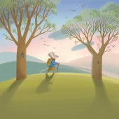 Early spring sunny forest trees and green grass. Green landscape with field and trees. The Mouse in coat and pants is going for a walk