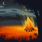 Digital illustration about a bonfire in the hill forest at star night