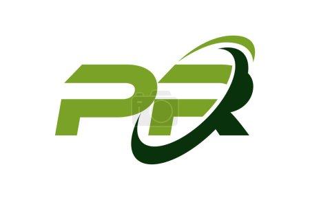 Illustration pour Logo PR Swoosh Ellipse Vert Lettre Vector Concept - image libre de droit