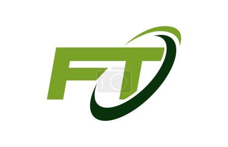 Illustration pour FT Logo Swoosh Ellipse Vert Lettre Vector Concept - image libre de droit
