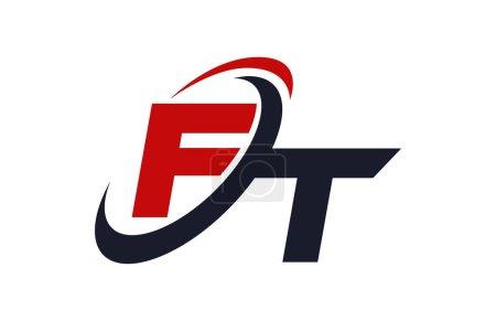Illustration pour FT Logo Swoosh Global Red Letter Concept vectoriel - image libre de droit