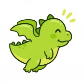 Cute cartoon green baby dragon flying Funny little character drawing isolated vector illustration