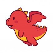 Cute cartoon flying baby dragon Funny little chubby dragon character drawing